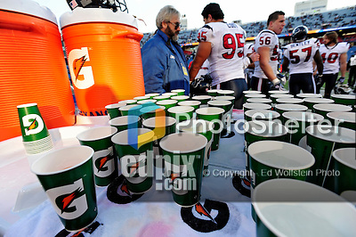 1 November 2009: Gatorade brand hydration beverages sit ready at the Houston Texans' bench during a game against the Buffalo Bills at Ralph Wilson Stadium in Orchard Park, New York, USA. The Texans defeated the Bills 31-10. Mandatory Credit: Ed Wolfstein Photo