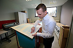 Jochen Bessemans, Ridley PR & Marketing Manager shows me the paint cutout sheets in the design centre at the factory in Paal-Beringen, Belgium, 21st March 2013 (Photo by Eoin Clarke 2013)
