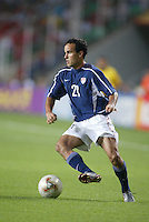 Landon Donovan switches the ball. The USA lost to Germany 1-0 in the Quarterfinals of the FIFA World Cup 2002 in South Korea on June 21, 2002.