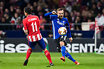 Pierre Bengtsson (R) of FC Copenhague fights for the ball with Angel Correa of Atletico de Madrid during the UEFA Europa League 2017-18 Round of 32 (2nd leg) match between Atletico de Madrid and FC Copenhague at Wanda Metropolitano  on February 22 2018 in Madrid, Spain. Photo by Diego Souto / Power Sport Images