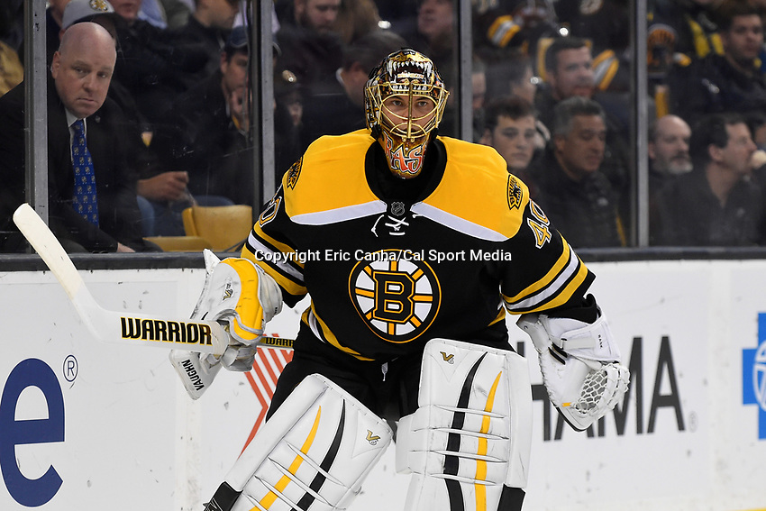 Wednesday, October 21, 2015: Boston Bruins goalie Tuukka Rask (40) watches the action on the ice during the National Hockey League game between the Philadelphia Flyers and the Boston Bruins, held at TD Garden, in Boston, Massachusetts. The Flyers defeat the Bruins 5-4 in overtime. Eric Canha/CSM