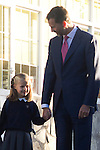 14.09.2012. Prince Felipe of Spain, Princess Letizia of Spain and their daughters Leonor and Sofia  arrive at 'Santa Maria de los Rosales' School in Aravaca near of Madrid, Spain. In the image (L-R) Princess Leonor and Prince Felipe (Alterphotos/Marta Gonzalez)