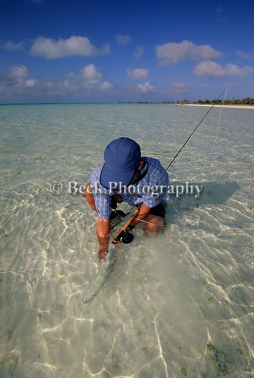 Rex Ishibashi with a bonefish from Kiribati, Christmas Island..