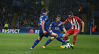 Atletico Madrid's Jorge Resurreccion battles with Leicester City's Ben Chilwell (left) and Christian Fuchs<br /> <br /> Photographer Stephen White/CameraSport<br /> <br /> UEFA Champions League Quarter Final Second Leg - Leicester City v Atletico Madrid - Tuesday 18th April 2017 - King Power Stadium - Leicester <br />  <br /> World Copyright &copy; 2017 CameraSport. All rights reserved. 43 Linden Ave. Countesthorpe. Leicester. England. LE8 5PG - Tel: +44 (0) 116 277 4147 - admin@camerasport.com - www.camerasport.com