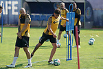 Getafe's David Timor (l) and Jaime Mata during training session. May 25,2020.(ALTERPHOTOS/Acero)