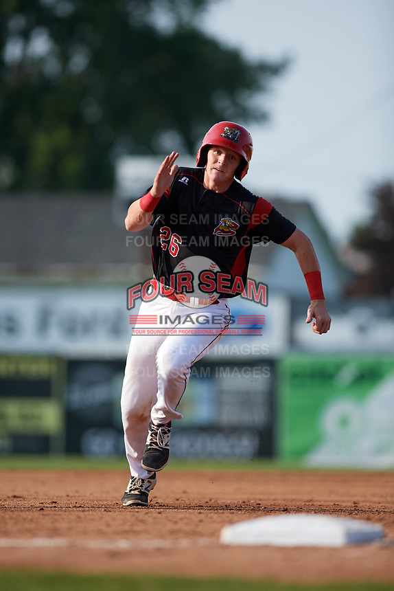 Batavia Muckdogs catcher Jared Barnes (26) running the bases during the first game of a doubleheader against the Mahoning Valley Scrappers on August 28, 2017 at Dwyer Stadium in Batavia, New York.  Mahoning Valley defeated Batavia 6-3.  (Mike Janes/Four Seam Images)