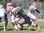 Palos Verdes, CA 10/21/16 - Markeece Alexander (Redondo Union #6) and Tim Jow (Peninsula #89) in action during the CIF Southern Section Bay League Redondo Union - Palos Verdes Peninsula game at Peninsula High School.
