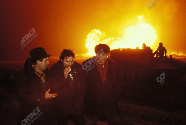 Solidarity leader Lech Walesa visiting oil fields..Karlino, Poland, December 1980
