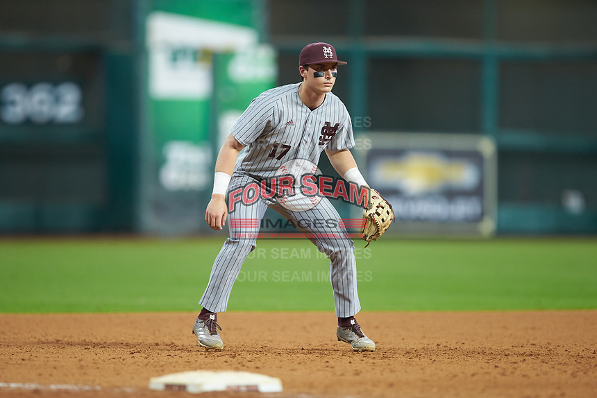 Justin Foscue (17) of the Mississippi State Bulldogs on defense against the Sam Houston State Bearkats during game eight of the 2018 Shriners Hospitals for Children College Classic at Minute Maid Park on March 3, 2018 in Houston, Texas. The Bulldogs defeated the Bearkats 4-1.  (Brian Westerholt/Four Seam Images)