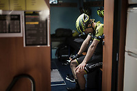 Christopher Juul-Jensen (DEN/Mitchelton-Scott) after a though day on the bike<br /> <br /> 81st Gent-Wevelgem 'in Flanders Fields' 2019<br /> One day race (1.UWT) from Deinze to Wevelgem (BEL/251km)<br /> <br /> ©kramon