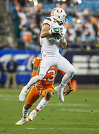 Charlotte, NC - December 2, 2017: Miami Hurricanes wide receiver Braxton Berrios (8) catches a pass during the ACC championship game between Miami and Clemson at Bank of America Stadium in Charlotte, NC.  (Photo by Elliott Brown/Media Images International) Clemson defeated Miami 38-3 for their third consecutive championship title.