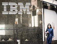 The IBM logo is seen on their building's headquarters in New York on Monday, April 18, 2016. IBM is scheduled to release its first-quarter earnings today after the bell,.(© Richard B. Levine)