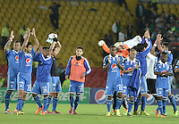BOGOTÁ -COLOMBIA, 09-02-2014. Jugadores de Millonarios saludan al público después del partido con Atlético Nacional por la fecha 4 de la Liga Postobón  I 2014 jugado en el estadio Nemesio Camacho el Campín de la ciudad de Bogotá./ Millonarios players greet to the fans after the match against Atletico Nacional for the 4th date of the Postobon  League I 2014 played at Nemesio Camacho El Campin stadium in Bogotá city. Photo: VizzorImage/ Gabriel Aponte / Staff