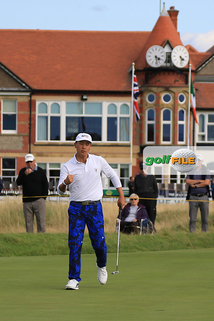 John Pak (USA) on the 16th during Day 2 Singles at the Walker Cup, Royal Liverpool Golf CLub, Hoylake, Cheshire, England. 08/09/2019.<br /> Picture Thos Caffrey / Golffile.ie<br /> <br /> All photo usage must carry mandatory copyright credit (© Golffile   Thos Caffrey)
