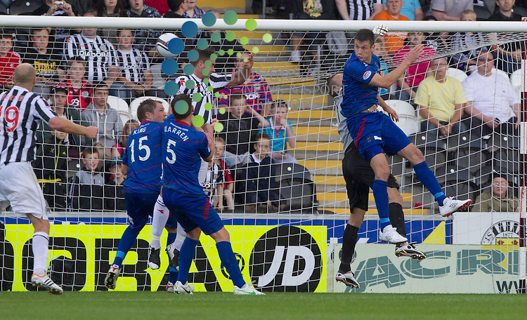 Darren McGregor (4) scores from a header during the St Mirren v inverness  at St mirren Park.Picture: Maurice McDonald/Universal News And Sport (Europe). 4 August  2012. www.unpixs.com.