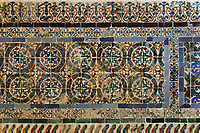 Mudejar style tiles from Triana in Spain on the walls of the Chapel of Santa Ana or the Bishop of Bastidas, built 1535-40 by Master Rodrigo de Liendo, by order of the Dean Rodrigo de Bastidas, in the Catedral Nuestra Senora de la Encarnacion, or the Basilica Cathedral of Santa Maria la Menor, dedicated to St Mary of the Incarnation, built 1514-35 in Renaissance and Gothic style, in the Colonial Zone of Santo Domingo, capital of the Dominican Republic, in the Caribbean. The cathedral is also known as the Catedral Primada de America as it is the oldest cathedral in the Americas. Santo Domingo's Colonial Zone is listed as a UNESCO World Heritage Site. Picture by Manuel Cohen