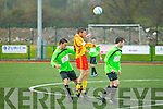 Pat McGrath Killarney Celtic in action against Dave McCarthy Avenue Utd in the Munster Champions League in Killarney on Sunday.