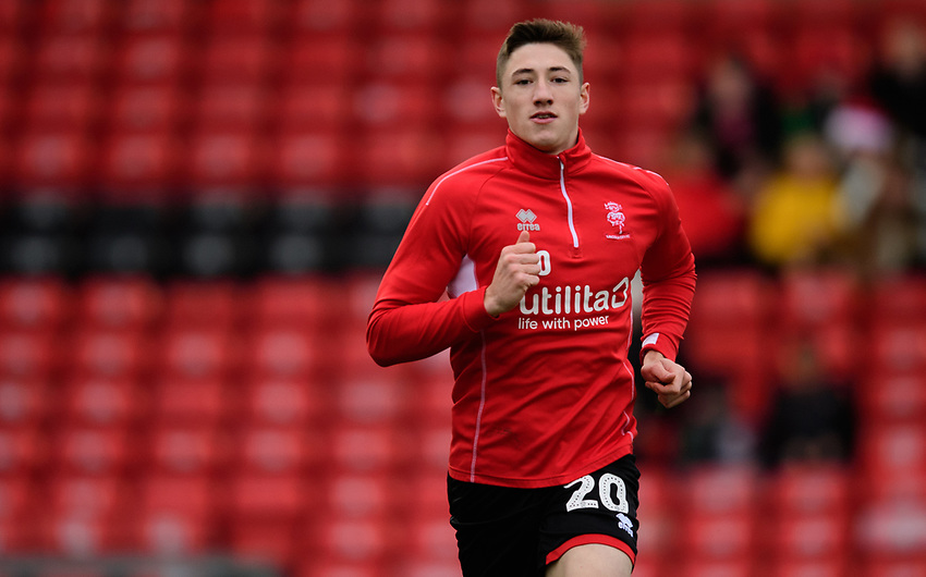 Lincoln City's Adam Crookes during the pre-match warm-up<br /> <br /> Photographer Chris Vaughan/CameraSport<br /> <br /> The EFL Sky Bet League Two - Lincoln City v Newport County - Saturday 22nd December 201 - Sincil Bank - Lincoln<br /> <br /> World Copyright © 2018 CameraSport. All rights reserved. 43 Linden Ave. Countesthorpe. Leicester. England. LE8 5PG - Tel: +44 (0) 116 277 4147 - admin@camerasport.com - www.camerasport.com