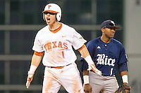 Tres Barrera (1) of the Texas Longhorns reacts after hitting an RBI double against the Rice Owls at Minute Maid Park on February 28, 2014 in Houston, Texas.  The Longhorns defeated the Owls 2-0.  (Brian Westerholt/Four Seam Images)