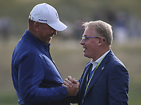 EUROPE WIN. Thomas Bjorn (Team Europe Captain) and Keith Pelley enjoy the moment after the Sunday's Singles, at the Ryder Cup, Le Golf National, &Icirc;le-de-France, France. 30/09/2018.<br /> Picture David Lloyd / Golffile.ie<br /> <br /> All photo usage must carry mandatory copyright credit (&copy; Golffile | David Lloyd)