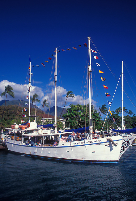 Spirit of Windjammer sailboat in marina at Lahaina Harbor, Lahaina, Maui, Hawaii, United States