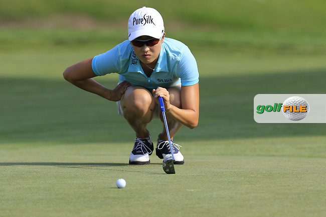 Jennifer Song (USA) lines up her putt on the 12th green during Friday's Round 2 of the 2015 KPMG Women's PGA Championship held at Westchester Country Club, Harrison, New York, USA. 6/12/2015.<br /> Picture &copy; Golffile/Eoin Clarke
