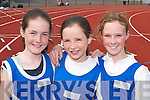 Estuary AC runners Joanne McCarthy, Katlyn Parkinson and Aisling Rayne at the County Athletic Championships in Castleisland last Saturday..