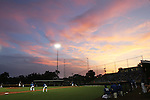 CHAD PILSTER &bull;&nbsp;Hays Daily News<br /> <br /> The sun sets as the Larks are up to bat on Tuesday, July 9, 2013, at Larks Park in Hays, Kansas. The Hays Larks played the Denver Cougars in a non-Jayhawk league baseball game.