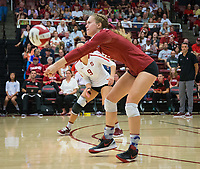STANFORD, CA - September 9, 2018: Meghan McClure, Morgan Hentz at Maples Pavilion. The Stanford Cardinal defeated #1 ranked Minnesota 3-1 in the Big Ten / PAC-12 Challenge.