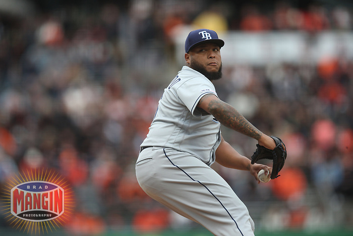SAN FRANCISCO, CA - APRIL 5:  Jose Alvarado #46 of the Tampa Bay Rays pitches against the San Francisco Giants during the game at Oracle Park on Friday, April 5, 2019 in San Francisco, California. (Photo by Brad Mangin)