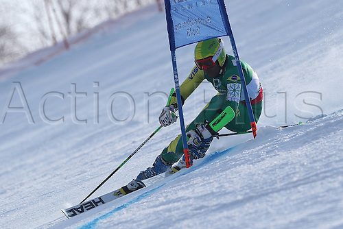 15.02.2013, Schladming, Austria. Jhonatan Longhi in action during the qualification race of the Giant Slalom of  the FIS Alpine World Ski Championships 2013