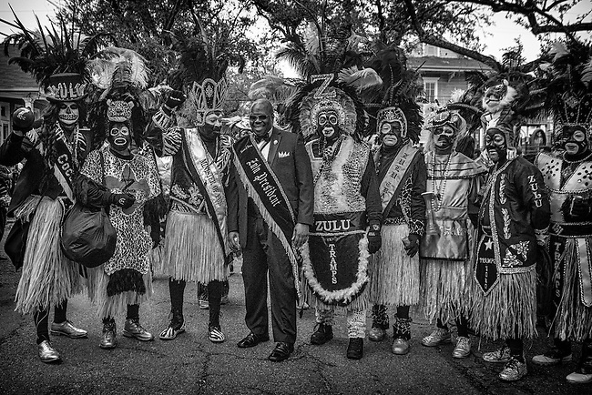 Zulu President Naaman Stewart with the Zulu Tramps and members of the Zulu Social Aid & Pleasure Club's 'Zulu Parade' on Jackson Avenue, the first parade on the morning of Mardi Gras Day on February 12, 2013 in New Orleans, Louisiana.