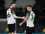 Scorer Jack Marriott of Derby County (r) shares a joke with Scott Malone of Derby County after he tried to claim the goal during the FA Cup match at the Pride Park Stadium, Derby. Picture date: 4th February 2020. Picture credit should read: Darren Staples/Sportimage