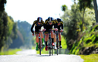 Christchurch BHS A u20 boys in action during the NZ Schools Road Cycling championship day one team time trials at Koputaroa Road near Levin, New Zealand on Saturday, 30 September 2017. Photo: Dave Lintott / lintottphoto.co.nz