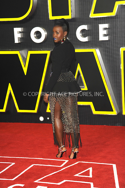 WWW.ACEPIXS.COM<br /> <br /> December 16 2015, London<br /> <br /> Lupita Nyong'o arriving at the European Premiere of 'Star Wars: The Force Awakens' in Leicester Square on December 16, 2015 in London, England.<br /> <br /> By Line: Famous/ACE Pictures<br /> <br /> <br /> ACE Pictures, Inc.<br /> tel: 646 769 0430<br /> Email: info@acepixs.com<br /> www.acepixs.com