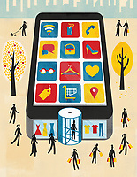 Smart phone as department store for internet shopping and mobile apps