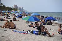 FORT LAUDERDALE, FL - JUNE 28: A large crowd of young People are seen on Fort Lauderdale Beach as South Florida beaches are to close for July Fourth weekend, Florida reports another record spike in coronavirus cases, Florida's Covid-19 surge shows the state's reopening plan is not working on June 28, 2020 in Fort Lauderdale Beach, Florida. Credit: mpi04/MediaPunch