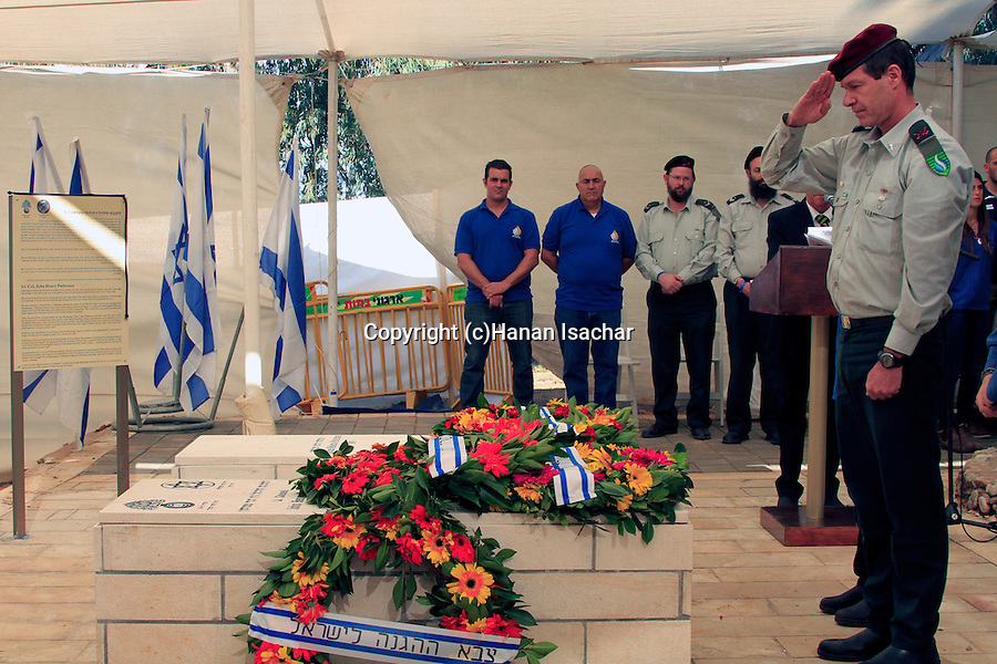 Israel, IDF officer laying a wreath on the tomb of Lieutenant Colonel John Henry Patterson