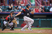 Richmond Flying Squirrels designated hitter Ricky Oropesa (33) at bat in front of catcher Austin Green during a game against the Erie SeaWolves on May 27, 2016 at Jerry Uht Park in Erie, Pennsylvania.  Richmond defeated Erie 7-6.  (Mike Janes/Four Seam Images)