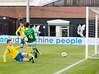 9th February 2020; Indodrill Stadium Alloa, Alloa Clackmannashire, Scotland; Scottish Cup Football, BSC Glasgow versus Hibernian; Christian Doidge of Hibernian misses an open goal chance