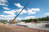 Crane being used to build the roof section of the primary digester tank