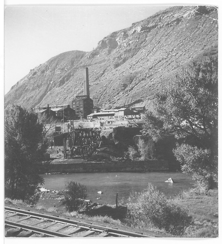 Smelter at Durango with Animas River and D&amp;RGW yard track in foreground.<br /> RGS  Durango, CO  Taken by Thomas, Charles