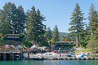 Pleasure boats docked in the Bowen Island Marina in Snug Cove on Bowen Island near Vancouver, British Columbia, Canada