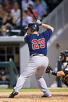 Jose Yepez (25) of the Gwinnett Braves at bat against the Charlotte Knights at BB&T Ballpark on August 19, 2014 in Charlotte, North Carolina.  The Braves defeated the Knights 10-5.   (Brian Westerholt/Four Seam Images)