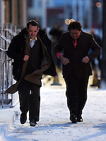 Pictured L-R: Elijah Wood with Celyn Jones running while rehearsing a scene. Tuesday 11 February 2014<br />