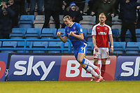 Tom Eaves of Gillingham celebrates after he scores his team's first goal of the game to make the score 1-1 during the Sky Bet League 1 match between Gillingham and Fleetwood Town at the MEMS Priestfield Stadium, Gillingham, England on 27 January 2018. Photo by David Horn.