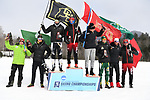FRANCONIA, NH - MARCH 11:   All Americans including winner Martin Bergstroem of the Univerity of Utah celebrate on the podium after the Men's 20K Freestyle event at the Division I Men's and Women's Skiing Championships held at Jackson Ski Touring on March 11, 2017 in Jackson, New Hampshire. (Photo by Gil Talbot/NCAA Photos via Getty Images)