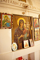 Madonna, Virgin Mary, Icons in the 17th Century Byzantine Greek Orthodox Monastery of Agia Anna ( St Anne) 17th Century
