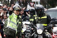 BOGOTA, COLOMBIA - January 17. Members of the Colombia Police Department arrive to the scene where a car bomb exploded on January 17, 2019 in Bogota, Colombia. A car bomb exploded in front of the police academy killing at least nine people and wounding 41. (Photo by Marcelo Villa/VIEWpress/)