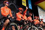 CCC Team on stage at the team presentation before Stage 1 of the Criterium du Dauphine 2019, running 142km from Aurillac to Jussac, France. 9th June 2019<br /> Picture: ASO/Alex Broadway | Cyclefile<br /> All photos usage must carry mandatory copyright credit (© Cyclefile | ASO/Alex Broadway)